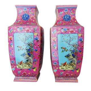 Porcelain Famille Rose Vases - A Pair