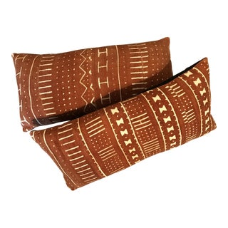 Brown Red African Mud Cloth Pillows