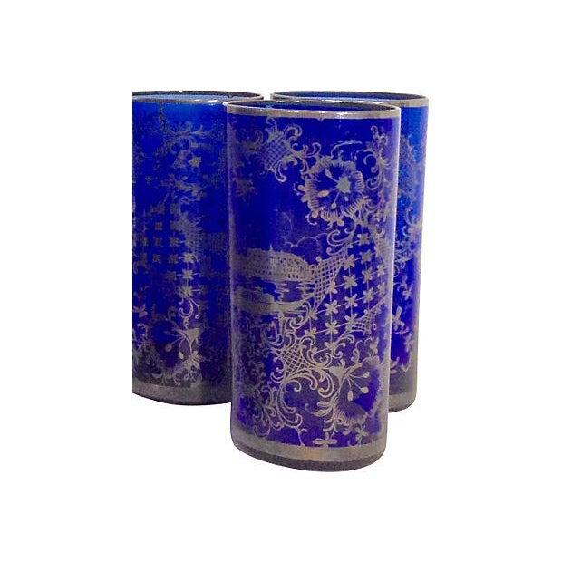 Vintage Venetian Silver on Blue Pitcher & Glasses - Image 5 of 6