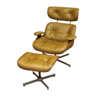 Eames Style Mid Century Lounge Chair & Foot Stool