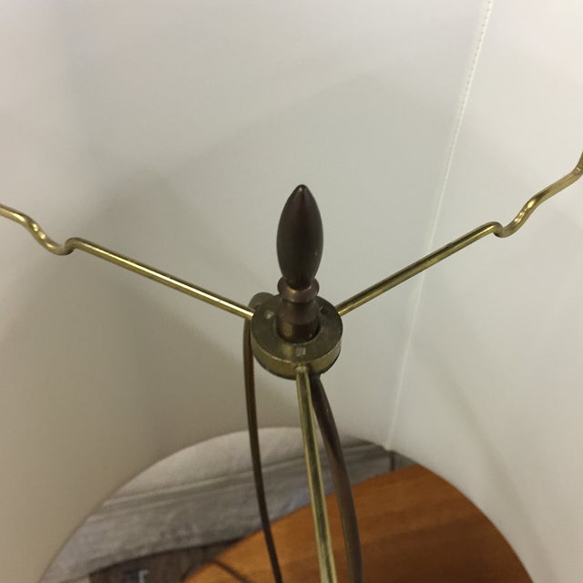 Vintage Floral Brass Table Lamps - A Pair - Image 5 of 6
