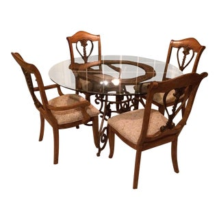 Glass Top & Metal Base Dining Table & Chairs