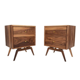 Two Drawer Walnut Nightstands - a Pair