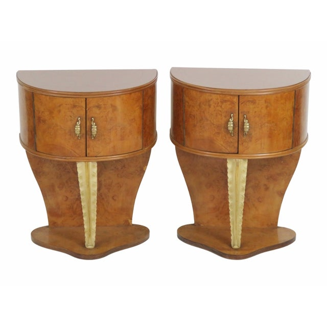Image of Demilune Pink Glass Top Stands - A Pair