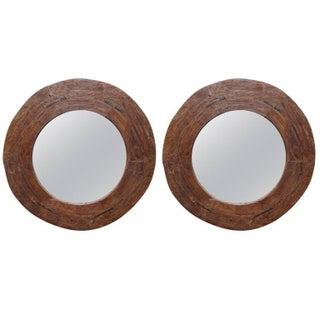 Massive Reclaimed Wood Mirrors - Pair
