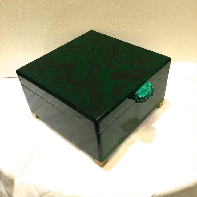 Image of Malachite Lacquered Box With Malachite Stone