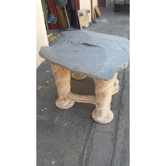 Image of Free Form Slab Slate Top & Wood Base Table