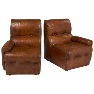 Mid-Century Cognac Leather Armchairs- A Pair