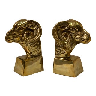 Jack Housman Brass Ram Bookends - a Pair