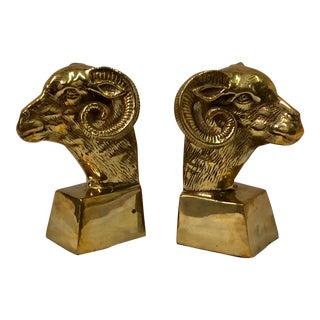 Jack Housman Brass Ram Bookends - a Pair