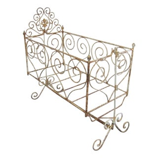 Victorian Antique Wrought Iron Scrollwork Crib