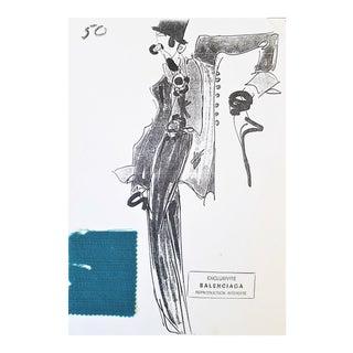Vintage 1980's Balenciaga Fashion Design and Swatch