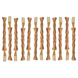 Brass Bamboo Hors d' Oeuvre Forks - Set of 12