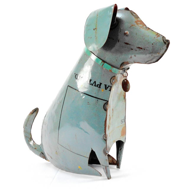 Recycled Metal Dog Sculpture - Image 3 of 8