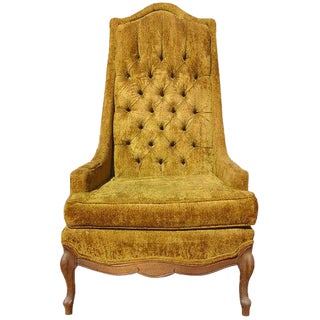 Golden Crushed Velvet Throne Armchair