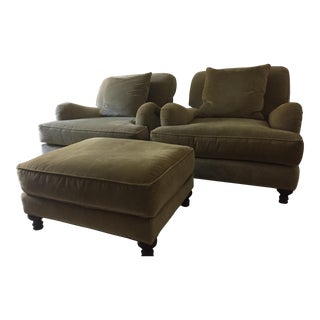 Restoration Hardware Classic Roll Arm Chairs & Ottoman - Set of 3