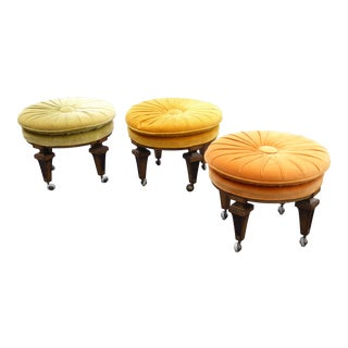 Three Vintage Mid-Century Modern Stools Ottomans Orange, Green & Gold - Set of 3