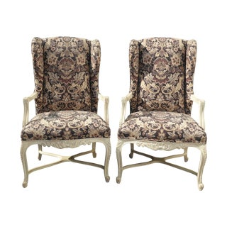French Country White With Black Floral Print Wingback Chairs - a Pair