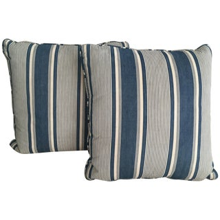 Antique French Indigo-Dyed Ticking Pillows - Pair