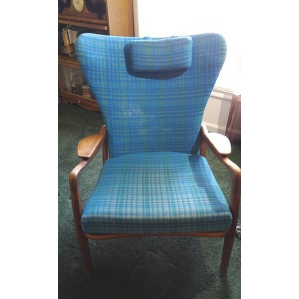 Mid-Century Modern Blue Wingback - Image 2 of 4