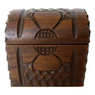 Vintage Hand Carved Floral Wood Box