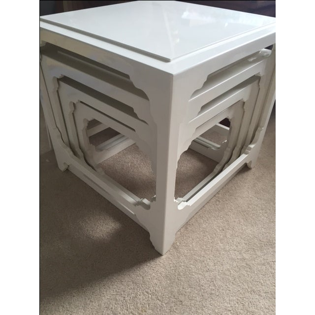 White Lacquered Stacking Cube Tables - Set of 4 - Image 9 of 9