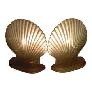 Brass Art Deco Sea Shell Bookends - a Pair