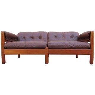 Mikael Laursen Vintage Brown Leather & Teak Sofa