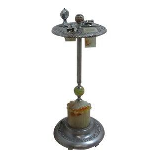 Antique Art Deco Onxy & Cast Smoke Stand Ash Tray Lamp