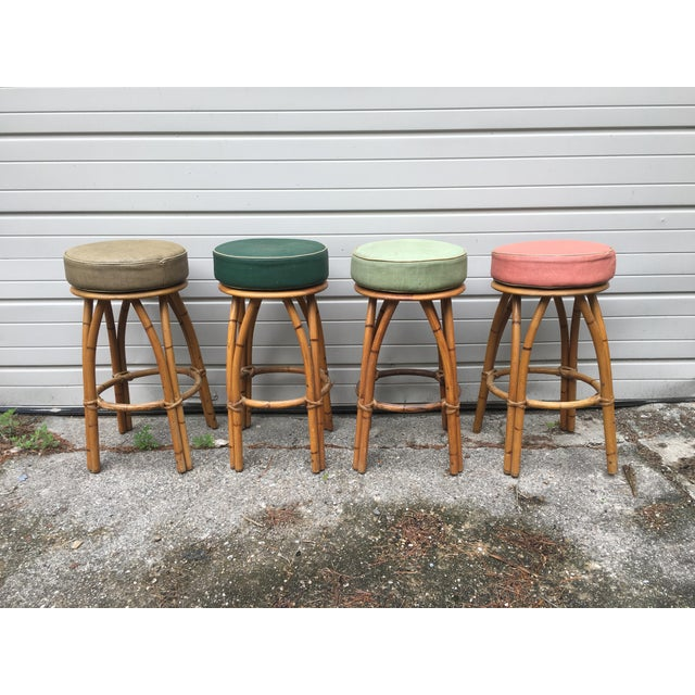 Image of Heywood Wakefield Bamboo Barstools - Set of 4