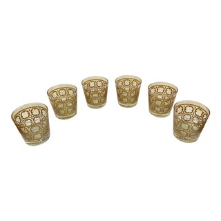 Libbey Mid-Century Gold Design Rock Lowball Glasses - Set of 6