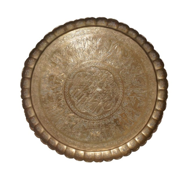 Vintage Brass Egyptian Etched Tray - Image 1 of 3