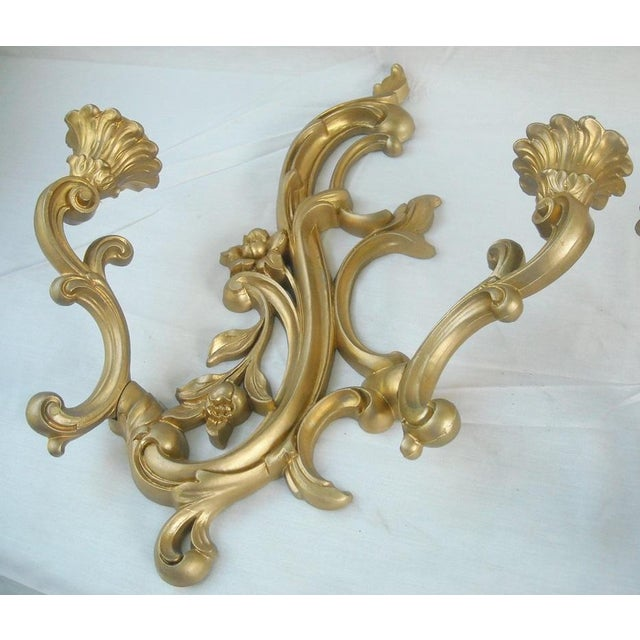 Midcentury Gold Candle Sconces - A Pair - Image 4 of 6