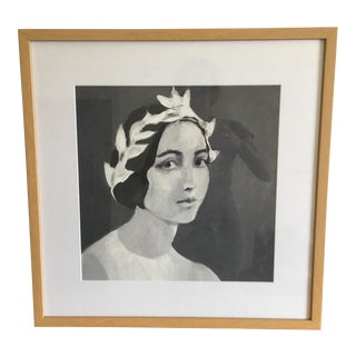 Framed Print Drawing of Young Lady