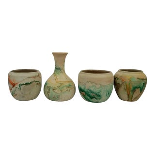 Nemadji Vintage Pottery in Orange - Set of 4