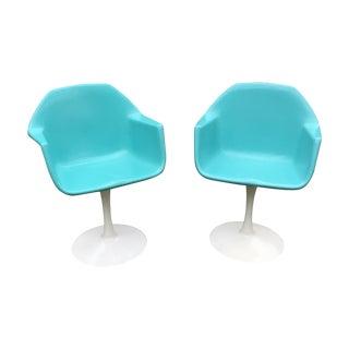 Mid-Century Aqua Knoll Saarinen Style Tulip Chairs