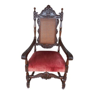 Jacobean Cane Back Arm Chair