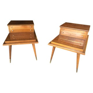 Mid-Century Step Side Tables - A Pair