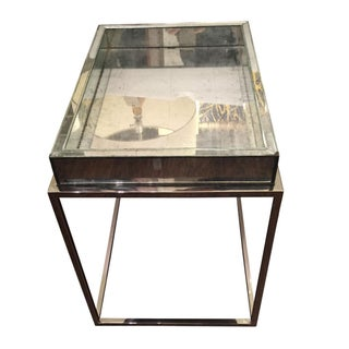 Antique Theodore Alexander Mirror & Chrome Occasional Table