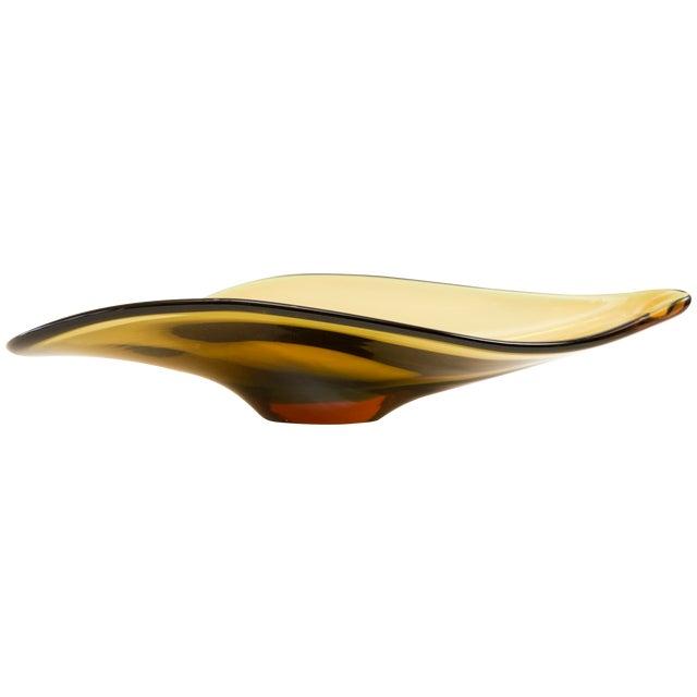 Image of Mid-Century Amber Murano Glass Bowl