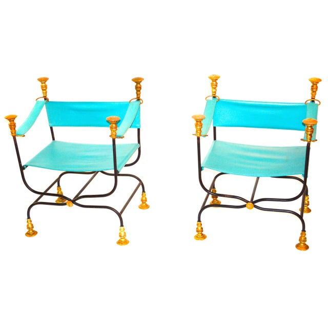 Image of Leather and Iron Directoire Chairs