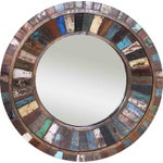 Image of Reclaimed Painted Wood Round Mirror