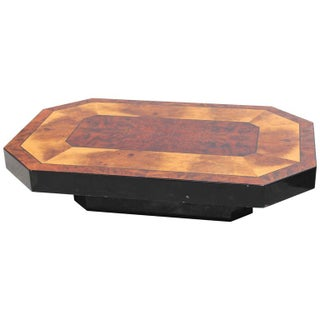 French Art Deco Burl/ Black Lacquer Coffee Table