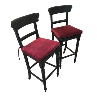Restoration Hardware Red Velvet Bar Stools - Pair