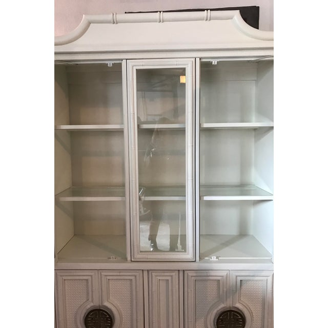 Chinoiserie Faux Bamboo Painted China Cabinet - Image 3 of 10