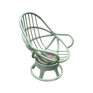 Vintage Midcentury Modern Rattan Swivel Chair