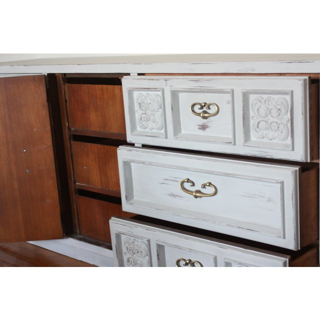 Carved Wood Detailed Gray Dresser - Image 8 of 11