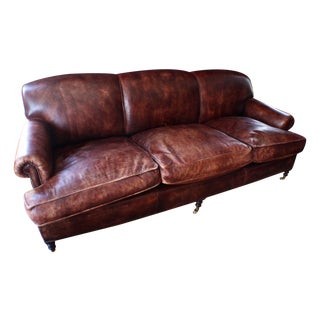 Vintage George Smith Terracotta Brown Leather Sofa