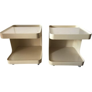 Plastic C-Shaped Side Tables - A Pair
