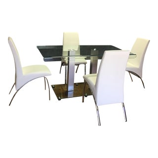 Contemporary Steel & Glass Dining Table Set